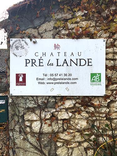 Panneau entrée domaine Pre La Lande